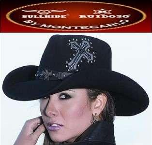 Bullhide STATE OF MIND Wool Western Cross Cowboy Hat Black NEW