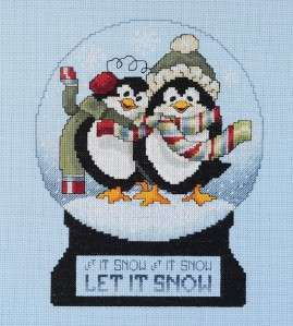 Snow Globe Penguins Counted Cross Stitch Kit NEW