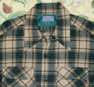 Vtg PENDLETON Khaki Green LOOP Collar Plaid Wool Shirt Medium M