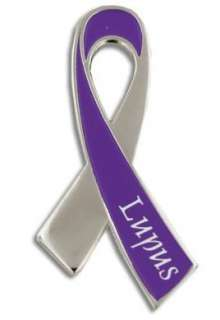 Lupus Awareness Month is May Silver and Purple Ribbon Lapel Pin with