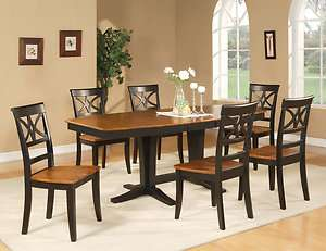 7PC DINING ROOM SET TABLE AND 6 WOOD SEAT CHAIRS IN BLACK & CHERRY