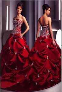 Stock Apple Red Satin Wedding Dress Size*8 10 12 14 16