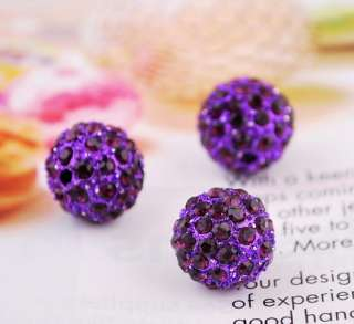12MM Disco Crystal Ball Beads 9Colors 2MM Hole Fit DIY Braid Charms
