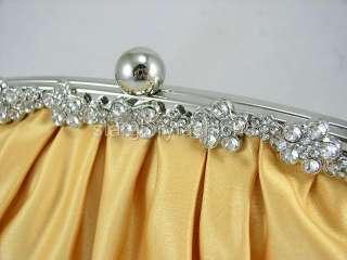Jeweled Gold Yellow Rhinestones Wedding Purse Clutch ECR 068280