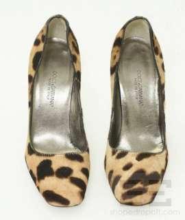 Dolce & Gabbana Brown Leopard Print Ponyhair Stacked Heel Pumps Size