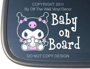 Kuromi BABY ON BOARD Vinyl Car Decal
