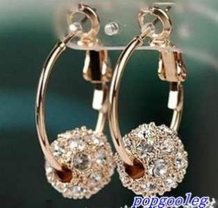 hot 18K rose Gold GP Hoop white Swarovski Crystal ball unique Earrings