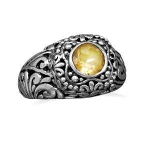 Yellow Citrine Ring Leaf Vine Design Antiqued Sterling