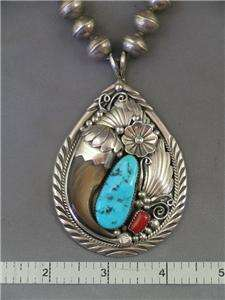 Navajo TED JOE  Sterling, Turquoise & Coral Necklace