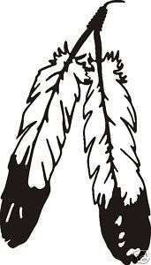 Large PAIR OF EAGLE FEATHERS INDIAN DECAL CAR WINDOW OR WALL STICKER