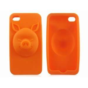 Orange Pig Animal Soft Silicone Case Cover Skin for iPhone
