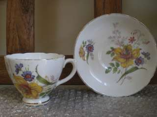 Imperial Fine Bone China England Yellow White Flower Tea Cup/Saucer