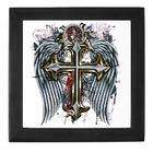Artsmith Inc Keepsake Box Black Cross Angel Wings