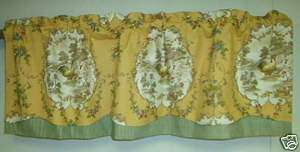 French Decor Valance Country Fair Toile Rooster; Gold