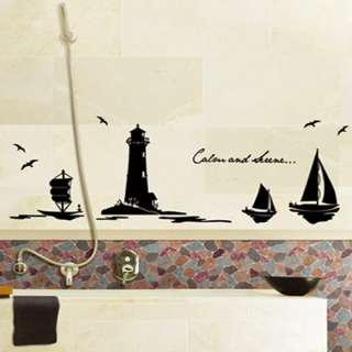 LIGHTHOUSE & SAILBOAT Black Wall Graphic Sticker Decal