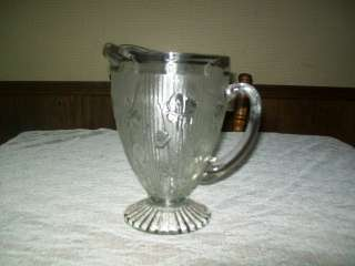 Iris Herringbone Water or Tea Pitcher Jeannette Glass Co. 9 Tall