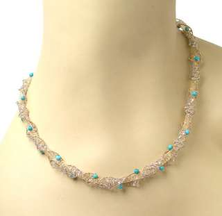 STRIKING VINTAGE 14k TWO TONE GOLD & TURQUOISE MESHED NECKLACE
