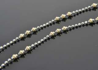 Two Tone 14K Yellow & White Gold Bead Ball Chain Anklet Ankle Bracelet