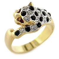 Womans Cougar Black & Clear St. 18kt Gold Plated Ring