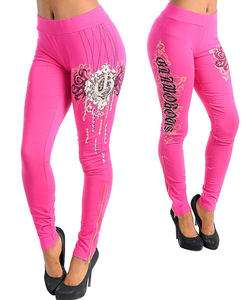 K35 Pink,Cotton, Tattoo,Rinestones Long Leggings  S