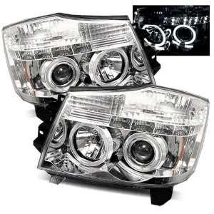 04 07 Nissan Titan Chrome LED Halo Projector Headlights Automotive