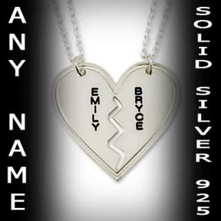 BREAKABLE HEART CUSTOM ANY NAME NECKLACE BEST COUPLE PENDANT STERLING