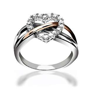 Bling Jewelry Sterling Silver CZ Heart Ring with Gold Vermeil Accent