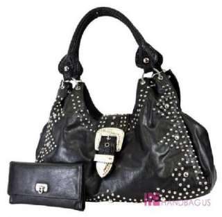 Western Rhinestone Belt Purse Hobo Bag Wallet SET Black