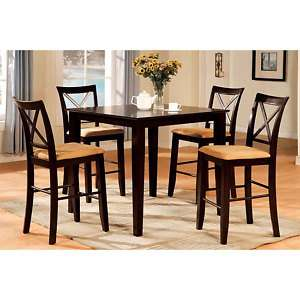 Solid Wood Espresso Finish 5 Piece Counter Height Dining Set