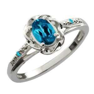 Oval London Blue Topaz Swiss Blue Topaz 10K White Gold Ring Jewelry