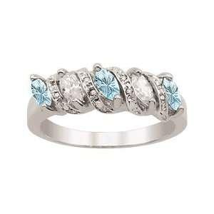 Blue Topaz S Curve Diamond and Birthstone Ring Jewelry