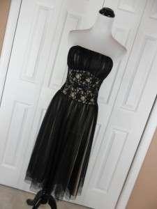 White House Black Market Size 0 Strapless Evening Gown Dress Black