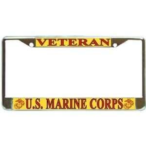 US Marines USMC Marine Corps Veteran Chrome Metal License Plate Frame