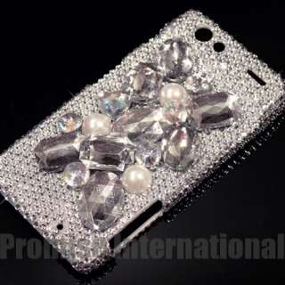 3D Silver Rhinestone Crystal Bling Case Cover   Motorola Droid RAZR