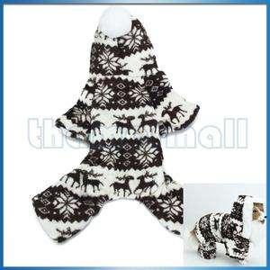 Pet Dog Fluffy Hoodie Hooded Jumpsuit Coat w/ Reindeer & Snowflake