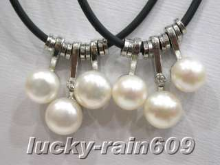 10 pieces 8mm white freshwater pearls leather necklaces
