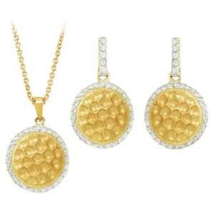 Cubic Zirconia and Sterling Silver 14K Yellow Gold Plated Necklace