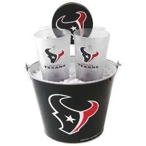 Houston Texans NFL Metal Bucket, Frost Resist Pint Glass & Coaster Set