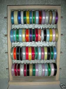 60 SPOOL RIBBON HOLDER Scrapbooking Organizer Wood Rack