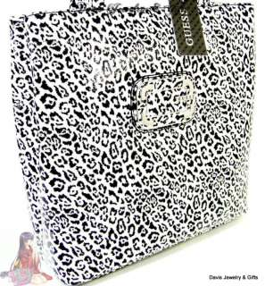 Guess G Logo Purse Lunch Tote Hand Bag Black White Patent Cat Leopard