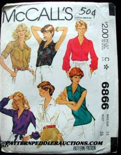 1970s 6 STYLE SHIRTS BLOUSES TOPS Fabric Pattern 42bust