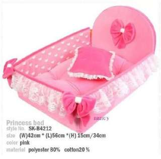 NEW Pink Princess Pet Dog Cat Soft Bed House Medium