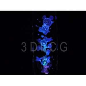 Mickey & Minnie Mouse 3D Laser Etched Crystal 6 Inch