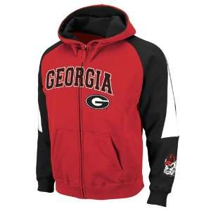Georgia Bulldogs Red Black Playmaker Full Zip Hoodie