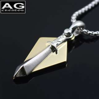 SWORD WITH DIAMOND SHAPE PENDANT CHAIN NECKLACE