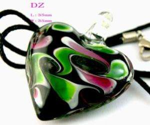 G3276 Ladys Black Lampwork Murano glass Heart Bead Pendant Necklace