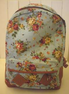 Shabby Vintage Country Chic Rose Light Blue Backpack