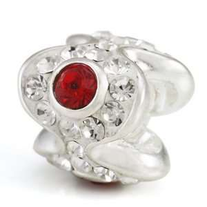 Ohm July BIRTHSTONE Red Crystal Discovery European Bead