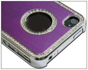 Purple Luxury Bling Rhinestone Hard Case Cover for iPhone 4 4S 4G