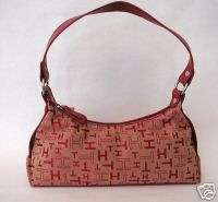 Tommy Hilfiger Red Logo Fabric Hobo Handbags Purses